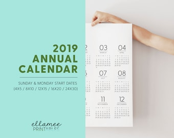 2019 Annual Printable Planner Page, Planner Inserts, Annual 2019, Printable Calendar, Year At A Glance Printable, Monday Start