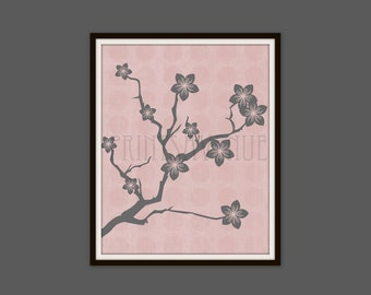 CHERRY BLOSSOM BRANCH Art Print, Gray and Pink Wall Art, Flowers and Branch Wall Decor