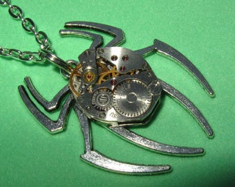 Steampunk Gothic Spider necklace  Silver Spider pendant vintage watch movement Tarantula Necklace Alternative  insect jewelry Cosplay