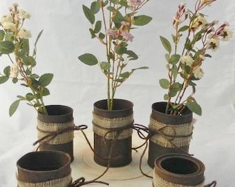 5 Rusty Can Wedding Vases~ Rustic Wedding Decor ~ Wedding Vase ~ Shabby Chic ~ Country Wedding ~