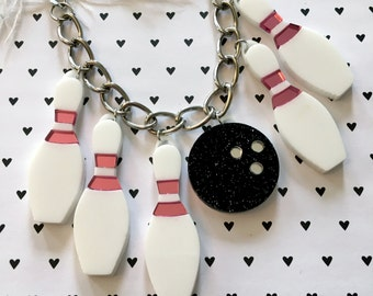 Bowling Pins and Ball Charm Necklace