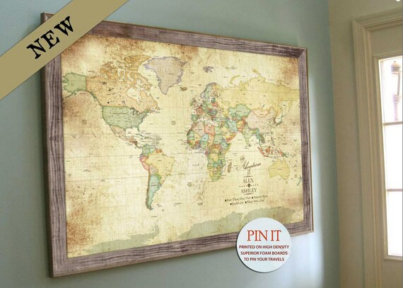 Push pin vintage world map old world charm 24x36 inches push pin vintage world map old world charm 24x36 inches keepsake gift push pin travel gift for grandparents genealogy map antique map gumiabroncs Gallery