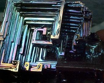Rainbow Geometric Bismuth Crystal Mineral Specimen Excellent for Instilling Group Cohesiveness 013