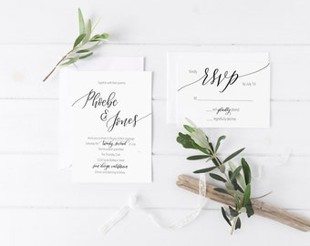 Custom Printable Wedding Invitation & RSVP Card (Personalized, Calligraphy, Hand Lettered, Digital, DIY, Invites, Downloadable)