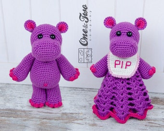 Combo Pack - Pip the Hippo Lovey and Amigurumi Set for 7.99 Dollars - PDF Crochet Pattern Instant Download - Special Offer