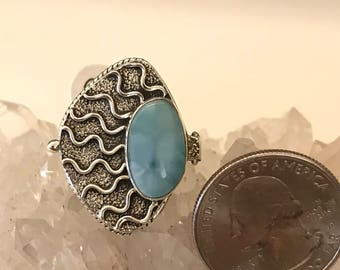 Beautiful Larimar Poison Ring, Size 8