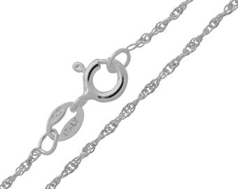 925 Sterling Silver Loose Rope 1mm Prince of Wales Chain Necklace 16 18 20 22 24 inches