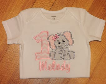 Baby Elephant Zoo Animal Personalized Baby Girl's First Birthday Bodysuit Tutu Set 1st (2nd also available)