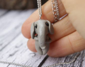 Tiny Elephant Necklace, Miniature Elephant, Cute Pendant, Polymer Clay Charm Animal Figurine, gift for her, christmas gift, birthday gift