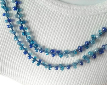 Blue Beaded Necklace - Long Necklace - Crochet Necklace - Double Wrap - Blue Beads - Beaded - Prom - Bridesmaid Gift