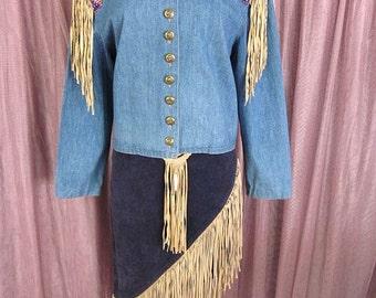 Double D Ranch Wear Jacket // fits M // beaded, fringed, denim, Double DD Ranch