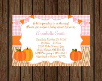 Pink and Orange Pumpkin Baby Shower Invitation, Fall Baby Shower, Little Pumpkin Is On The Way, Girls Baby Shower, Pumpkin Invitation