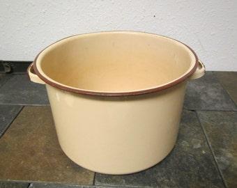 vintage TAN ENAMEL KETTLE , stock kettle, soup pot , cookware