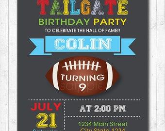 Football Tailgate Invitation, Football Invite, Sports Birthday, Sports Invitation, chalkboard, printable