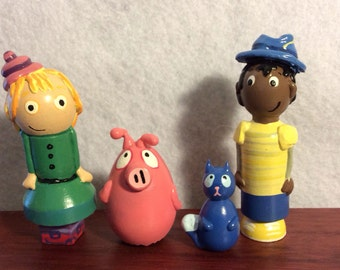 Peg pig cat  inspired wood peg people doll cake toppers