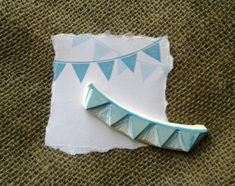 Bunting Banner Rubber Stamp Baby Shower Craft Hand Carved Stamp