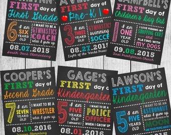 Personalized First Day or Last Day of School Chalkboard Printable - 8x10