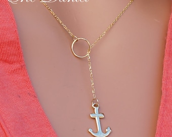 Anchor Lariat 10K 14K 18K in Solid White, Yellow or Rose Gold, Anchor Necklace, Nautical Necklace, Nautical Jewelry, Ship Necklace