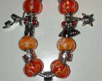 Orange and Silver Bracelets