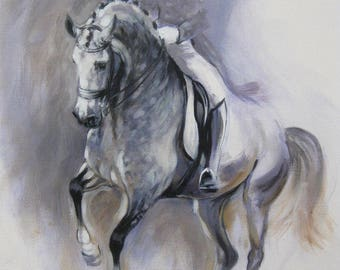 Original dressage acrylic painting equine art horse art wall art 'Dance I' impressionism painting horse lover gift by H Irvine