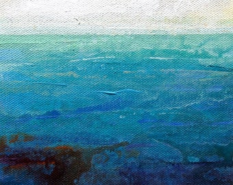 "Coastal painting in blue, modern impressionist, painting on canvas, inspired by nature, wall art, ""Land 516"" ""Open Water"""