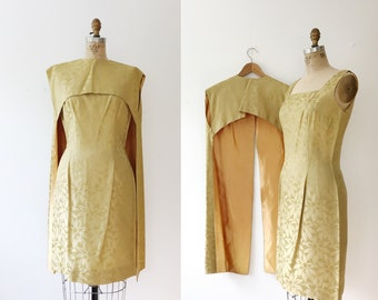 60s brocade dress / vintage cocktail dress / Brocade Cape dress