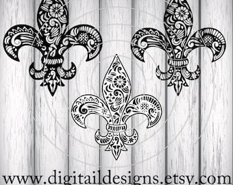 Zentangle Fleur De Lis SVG - dxf - fcm - eps - ai - png - Cut File - Silhouette - Cricut - Scan N Cut - Doodle Fleur De Lis Cut File
