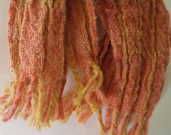 Handspun Handwoven Collapse Weave Scarf Dyed with Natural Dyes