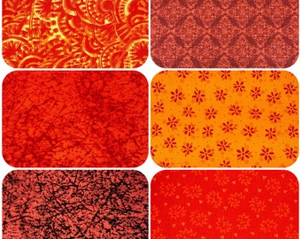 6 Red, Orange, and Yellow Fat Quarter Quilting Bundles