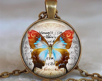 Butterfly Journal pendant, butterfly necklace butterfly jewelry butterfly pendant butterfly keychain butterfly key chain key fob