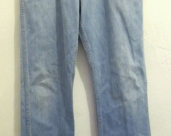Marked Down 25%@@Men's Faded Blue Vintage 70's STONER Style Bootcut Jeans.31x34