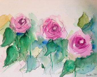 Original watercolor watercolor painting roses picture Art Watercolor Flowers