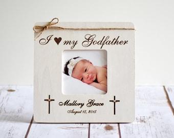 Baptism Frame -Godparents Gift- Godparents Frame- Gift for Godparents, Christening, I love my Godfather, Godmother Frame, Godfather Frame