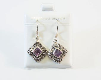 Diamond-Shaped Amethyst Balinese Dangling Earrings