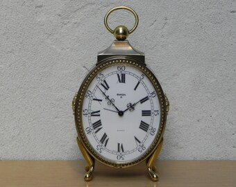 Large Rare Oval Brass Swiza 8 Day Mantle Alarm Clock
