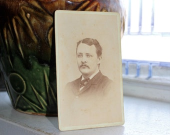 Antique Photograph Cabinet Card 1800s Victorian Man with Mustache