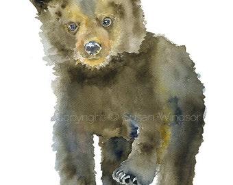 Black Bear Cub Watercolor Painting 4 x 6 Fine Art Giclee Reproduction - Woodland Nursery Art