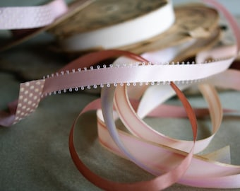 Vintage Pink Ribbons, 5 Spools, Crafting Supply, Spring Pastel Trims Polka Dots and More