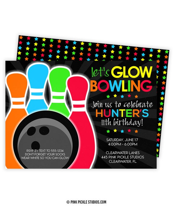 Glow Bowling Invitations Bowling Invitation Glow Bowl