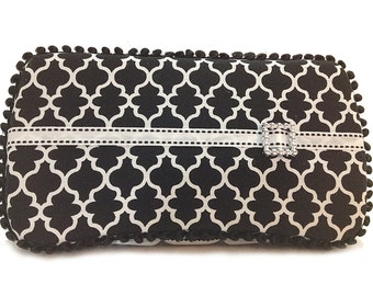 Custom Boutique Style Travel Wipe Case - Black and White