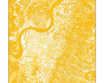 Chattanooga Cityscape / Tennessee Map Art Print City Wall Art / 8x10 Grad Gift / Choose your color