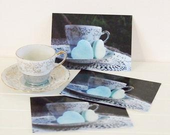 postcard set, romantic tea party cards, high tea invites, tea notecards, tea party favours, valentines day