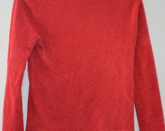 Sale! Turtleneck Sweater fitted red/orange 90's / M