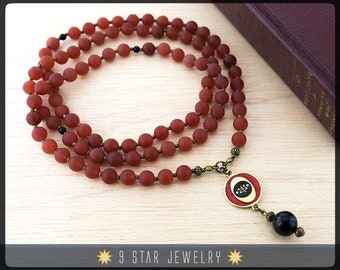 "NEW! Matte Red Agate Baha'i Prayer Beads with brass bahai ringstone symbol - Full 95 (Alláh-u-Abhá) ""Blessed Soul""- BPB79"