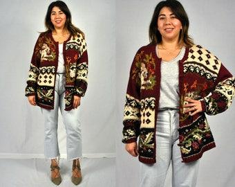 1990s Burgundy Knit Cardigan