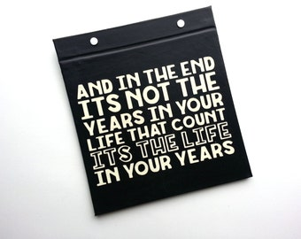 Running Bib Holder - Its not the years in your life its the life in your years - Gifts for Runners Hand-Bound Race Bib Book Black off white