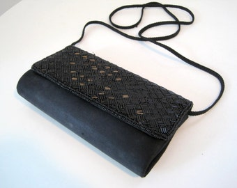 Vintage Black Beaded Satin Evening Bag - Small Crossbody Purse by La Regale 1980s Beaded Bag