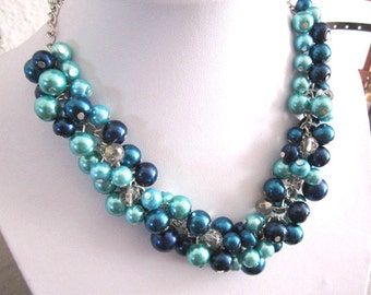 Blue Pearl Necklace, Chunky Cluster Necklace, Blue Necklace, Bridal Wedding Jewelry, Bridesmaid Gift, Shades of Blue, Navy, Teal, Turquoise