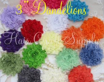 Glitter Shabby Dandelion Flowers - 3 inch -for Headbands, Clips, Appliques for Clothing and more