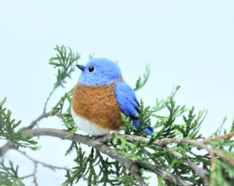 Needle Felted Bird Needle Felted Bluebird Needle Felted Animal Bluebird Ornament Bird Ornament Bluebird Keychain Miniature Bluebird Charm